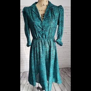 VINTAGE 70'S GREEN SHIRTWAIST DRESS CALIFOR